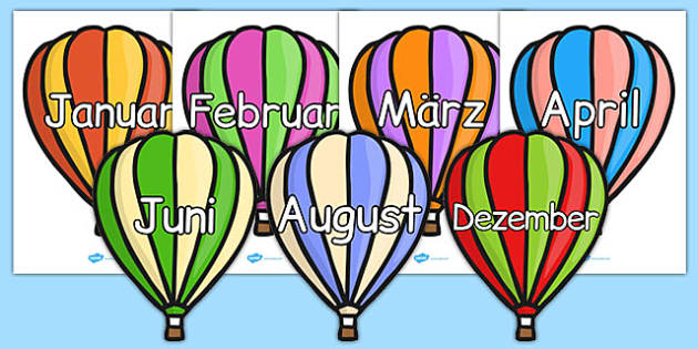 Months of the Year on Hot Air Balloons (Stripes) German - german, months, year, hot air balloons, stripes, months of the year