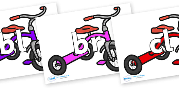 Initial Letter Blends on Trikes - Initial Letters, initial letter, letter blend, letter blends, consonant, consonants, digraph, trigraph, literacy, alphabet, letters, foundation stage literacy
