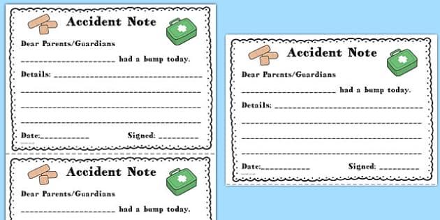 Accident Notes - accident notes, accident, notes, home, bump