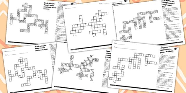 Phase 3 Crossword Puzzle Pack - phase 3, crossword, puzzle, pack