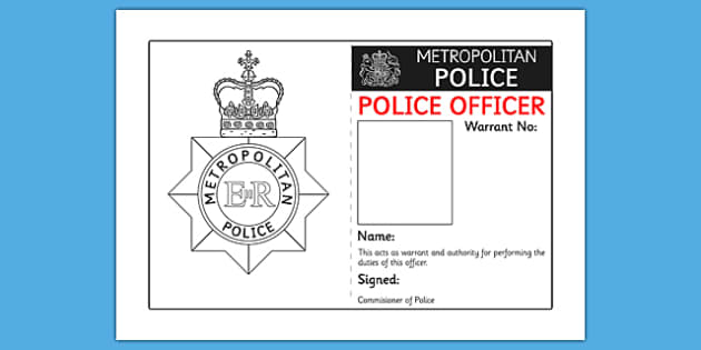 Identity Badge Role Play Template police id badge – Id Badge Template