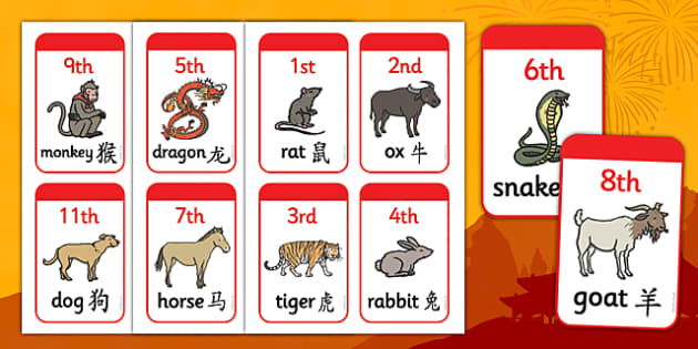 Mandarin Simplified Chinese New Year Animal Race Position Cards - mandarin, simplified, chinese new year, animal, race position, cards