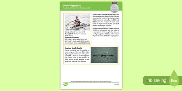 New Zealand Olympic Medal Winner   Mahē Drysdale Fact File