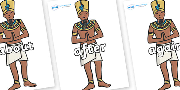 KS1 Keywords on Egyptian Priests - KS1, CLL, Communication language and literacy, Display, Key words, high frequency words, foundation stage literacy, DfES Letters and Sounds, Letters and Sounds, spelling