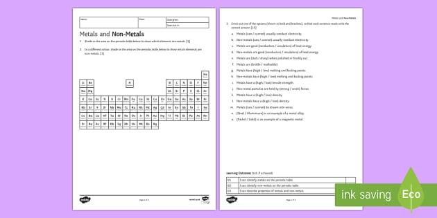 KS3 Metals and Non-Metals Homework Activity Sheet - Homework, metal, non-metal, non metal, metals, properties, periodic table, materials, conductivity,
