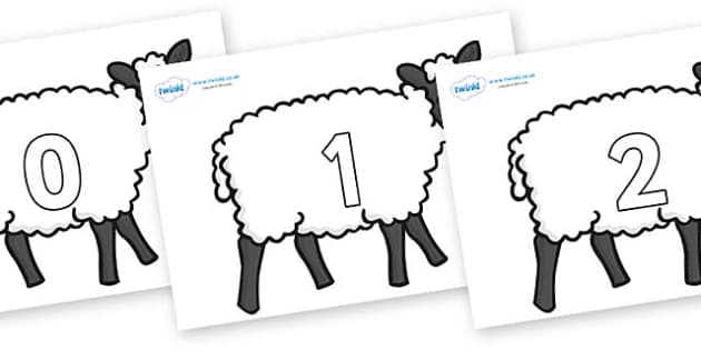 Numbers 0-50 on Sheep - 0-50, foundation stage numeracy, Number recognition, Number flashcards, counting, number frieze, Display numbers, number posters