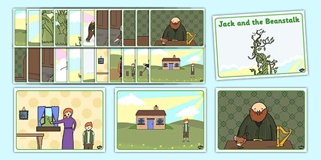 Jack and the Beanstalk Story Sequencing - Jack and the Beanstalk, traditional tales, tale, fairy tale, Jack, giant, beanstalk, beans, golden egg, axe, castle, sky