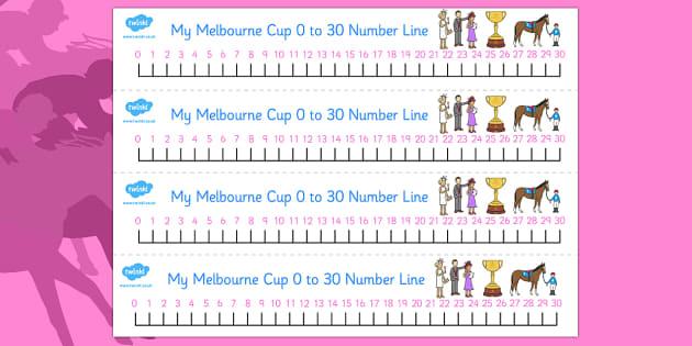 Melbourne Cup Number lines 0-30 - australia, melbourne cup, number line, 0-30