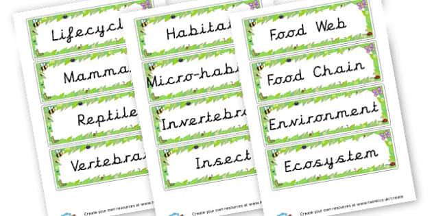 Habitat Key Words Cards - KS2 Science, Habitats, Visual Aids, Resources, Environment, Animal