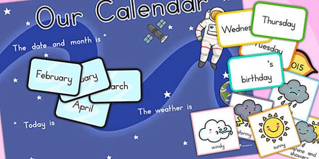 Space Themed Display Calendar Weather - australia, space, display