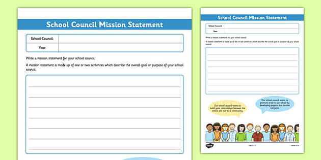 School Council Mission Statement Writing Frame - school council, mission statement, writing frame
