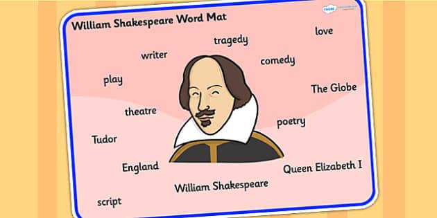 William Shakespeare Word Mat - william shakespear, word mat, topic words, topic mat, themed word mat, writing aid, mat of words, key words, keywords