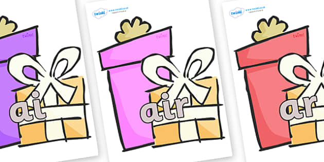 Phase 3 Phonemes on Presents - Gifts - Phonemes, phoneme, Phase 3, Phase three, Foundation, Literacy, Letters and Sounds, DfES, display