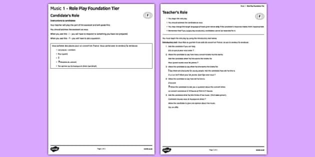 La musique 1 Jeu de rôle Foundation Tier - french, Music, musique, role play, foundation, speaking