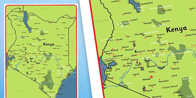 Map of Kenya Display Poster - Africa, Kenya, display, map, geography, nairobi, world, countires