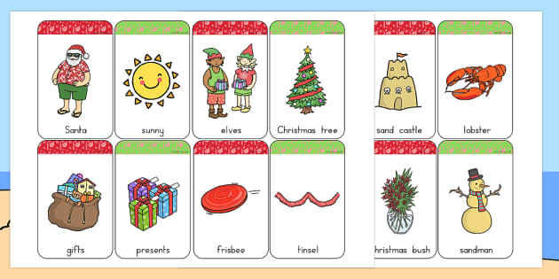Christmas Flashcards - australia, christmas, flashcards, cards