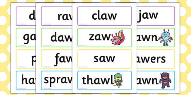 Phase 5 'aw' Flashcards Real and Nonsense Words - phase 5, aw, flashcards