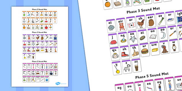 Phase 2 3 And 5 Phonemes Sound Mat Letters And Sounds
