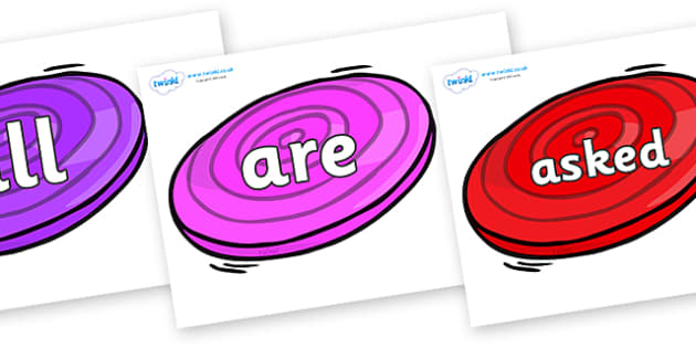 Tricky Words on Frisbees - Tricky words, DfES Letters and Sounds, Letters and sounds, display, words