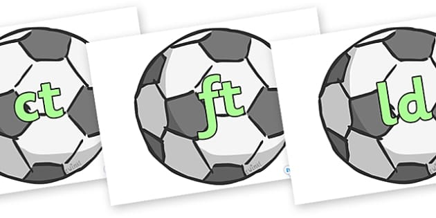 Final Letter Blends on Footballs - Final Letters, final letter, letter blend, letter blends, consonant, consonants, digraph, trigraph, literacy, alphabet, letters, foundation stage literacy