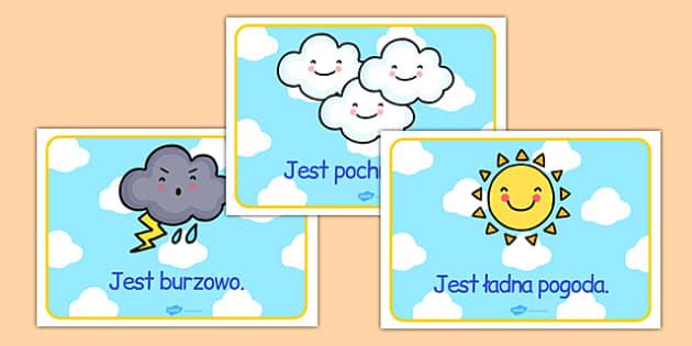 Materiały na gazetkę Pogoda po polsku - przedszkole, początkowe
