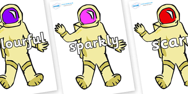 Wow Words on Astronauts - Wow words, adjectives, VCOP, describing, Wow, display, poster, wow display, tasty, scary, ugly, beautiful, colourful sharp, bouncy