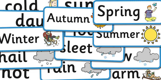 Year 1 Seasonal Changes Scientific Vocabulary Cards - science