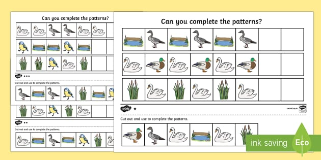 Ugly Duckling Complete The Pattern Worksheets - pattern, sheet