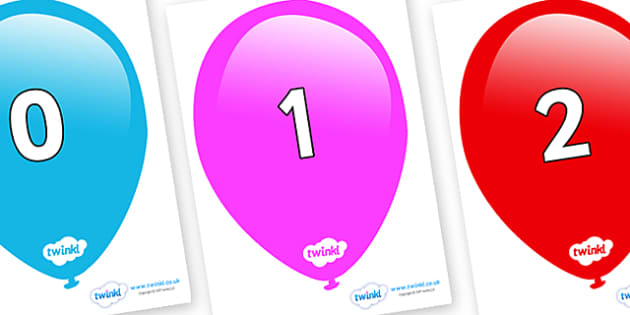 Numbers 0-50 on Balloons - 0-50, foundation stage numeracy, Number recognition, Number flashcards, counting, number frieze, Display numbers, number posters