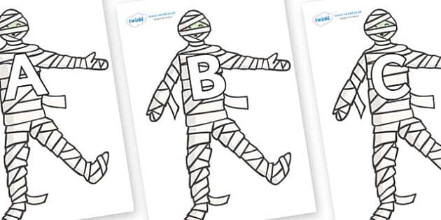 A-Z Alphabet on Mummy (Plain) - A-Z, A4, display, Alphabet frieze, Display letters, Letter posters, A-Z letters, Alphabet flashcards