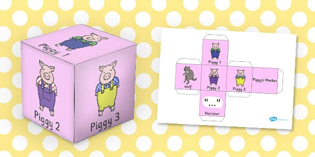 Three Little Pigs Role Play Dice - role-play, dice, little, pigs