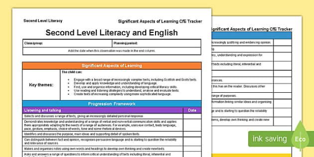 Literacy and English Significant Aspects of Learning and Progression Framework CfE Second Level Tracker-Scottish