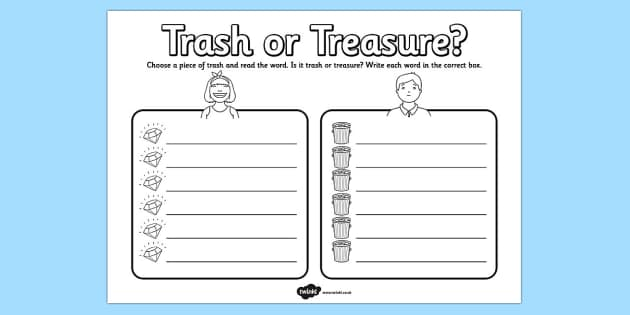 Trash or Treasure Nonsense Words Worksheet - trash, treasure, nonsense