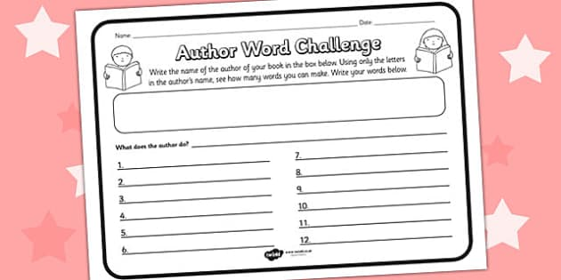 Author Word Challenge Worksheet - author, word, author word, comprehension, comprehension worksheet, character, discussion prompt, class discussion, read