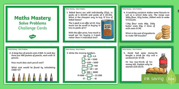 Year 6 Calculation Solve Problems Maths Mastery Challenge Cards - year 6, calculation, maths mastery, challenge cards, solve problems