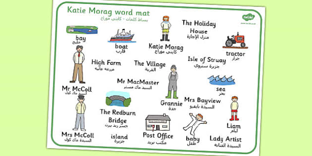 Word Mat to Support Teaching on Katie Morag Arabic Translation - arabic, katie morag