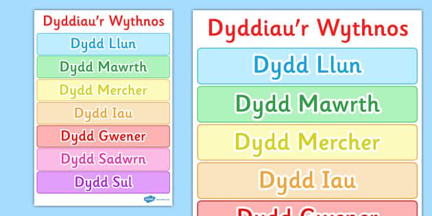Poster Dyddiau'r Wythnos - posters, display, displays, day