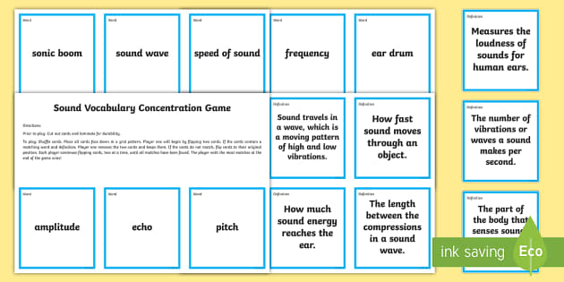 Sound Concentration Matching Game - Science Concentration Games, Body Systems, Earth and Sun, Ecology, Weather and Climate, Heat Energy,