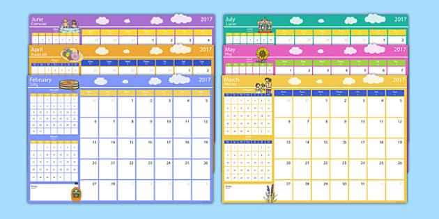 2017 Themed Calendar Polish Translation - polish, 2017 calendar, 2017, calendar, year, months of the year