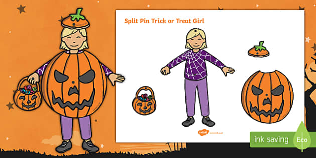 Split Pin Tick or Treat Girl Activity
