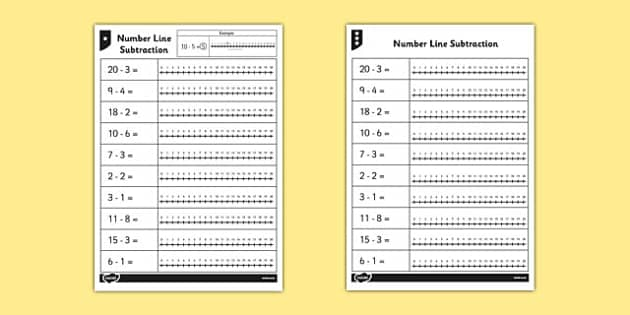 From 20 Number Line Worksheet subtraction line – Subtraction on a Number Line Worksheet