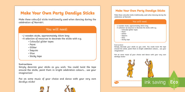 Navratri Dandiya Dancing Sticks Craft Instructions