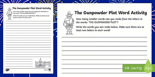 Gunpowder Plot Make a Word Activity