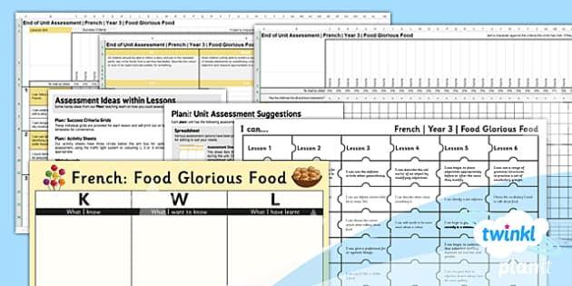 PlanIt - French Year 3 - Food Glorious Food Unit Assessment Pack - planit, french, year 3, food glorious food, assessment pack