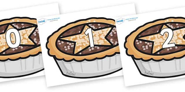 Numbers 0-100 on Mince Pies - 0-100, foundation stage numeracy, Number recognition, Number flashcards, counting, number frieze, Display numbers, number posters