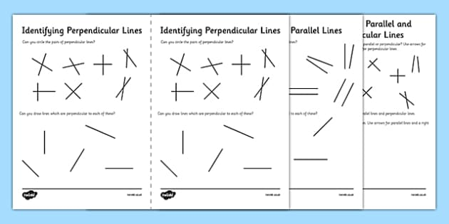 Identifying Parallel and Perpendicular Lines Activity Sheet Pack – Perpendicular Lines Worksheet