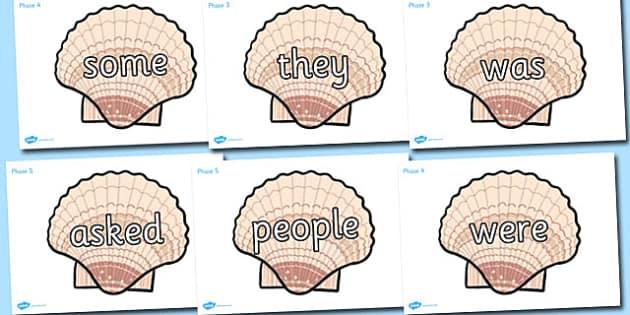 Tricky Words on Sea Shells - tricky words, sea shells, sea, shells