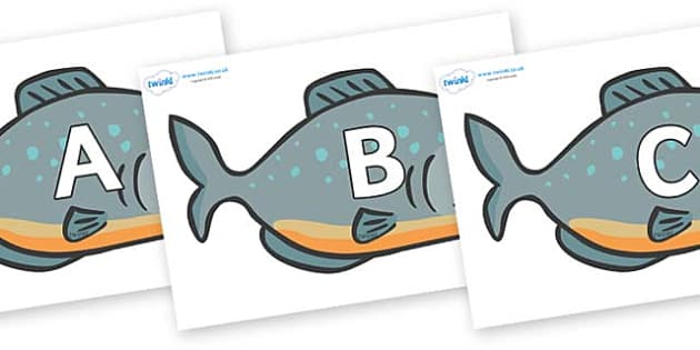 A-Z Alphabet on Piranhas - A-Z, A4, display, Alphabet frieze, Display letters, Letter posters, A-Z letters, Alphabet flashcards