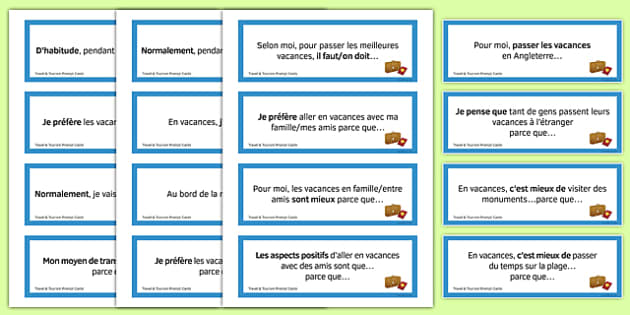 General Conversation Question Prompt Cards Travel and Tourism - french, Conversation, Speaking, Questions, Travel, Tourism, Holidays, Vacances, Voyage, Tourisme, Cards, Cartes