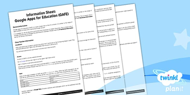 PlanIt - Computing Year 5 - Internet Research and Webpage Design Information Sheet Google Apps for Education